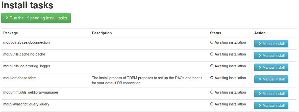 Mouf run install tasks